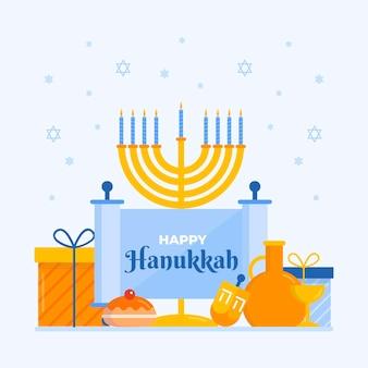 Illustration de hanoucca plat avec menorah
