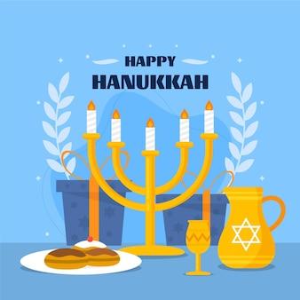 Illustration de hanoucca plat