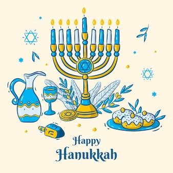 Illustration de hanukkah dessiné à la main