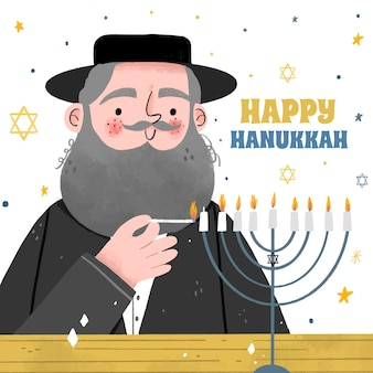 Illustration de hanukkah dessinée à la main