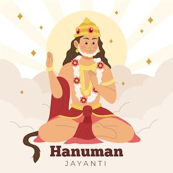 Illustration De Hanuman Jayanti Dessiné à La Main Vecteur Premium