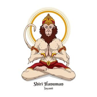 Illustration de hanuman jayanti dessinée à la main
