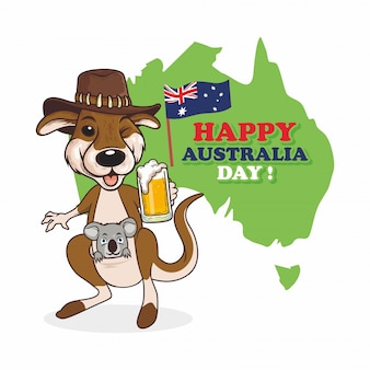 Illustration de happy australia day avec koala et kangourou