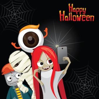 Illustration de happy halloween selfie