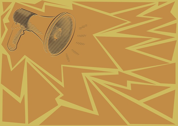 Illustration d'un haut-parleur mégaphone faisant de nouvelles annonces. dessin au trait bullhorn produisant une publicité récente. croquis de l'amplificateur montrant la diffusion tardive.