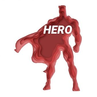 Illustration de héros. style origami coupé en papier
