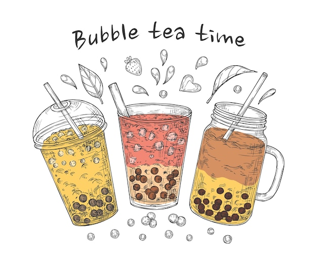 Illustration de l'heure du thé aux bulles