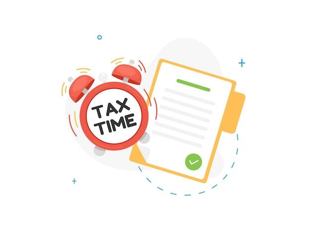 Illustration de l'heure des impôts avec document dans le dossier et réveil
