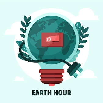 Illustration de l'heure de la terre avec ampoule, interrupteur et cordon d'alimentation