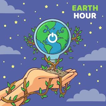 Illustration de l'heure de la terre dessinée à la main