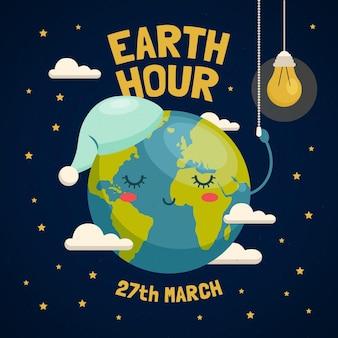 Illustration de l'heure de la terre avec la planète endormie et ampoule
