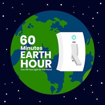 Illustration de l'heure de la terre avec la planète et l'interrupteur de lumière