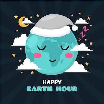 Illustration de l'heure de la terre plate