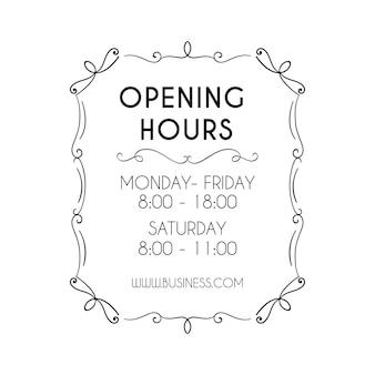 Illustration des heures d'ouverture des entreprises ornementales