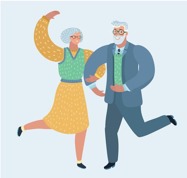 Illustration de l'heureux couple de personnes âgées dansant