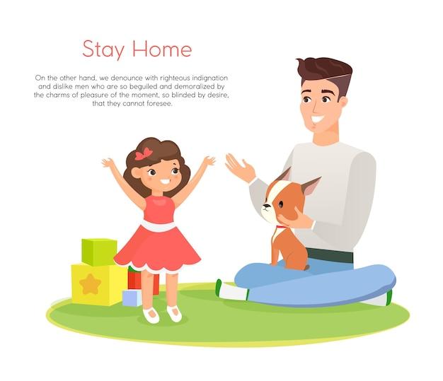 Illustration de l'heureux père jouant avec sa fille souriante et son chien, passer du temps ensemble, rester à la maison