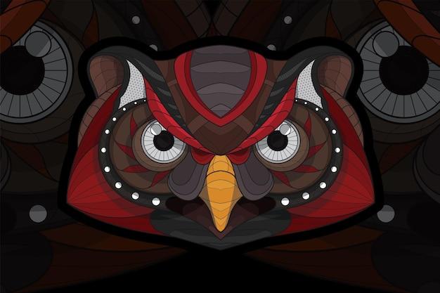 Illustration de hibou animal à colorier stylisé zentangle