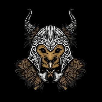 Illustration de hibou casque tête mecha