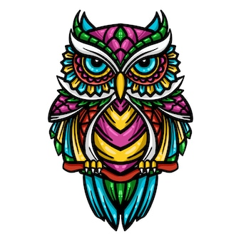 Illustration de hibou coloré zentangle