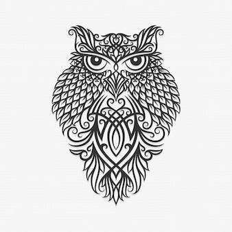 Illustration de hibou ornement de bornéo kalimantan dayak