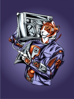 Illustration de hip hop tiger mc