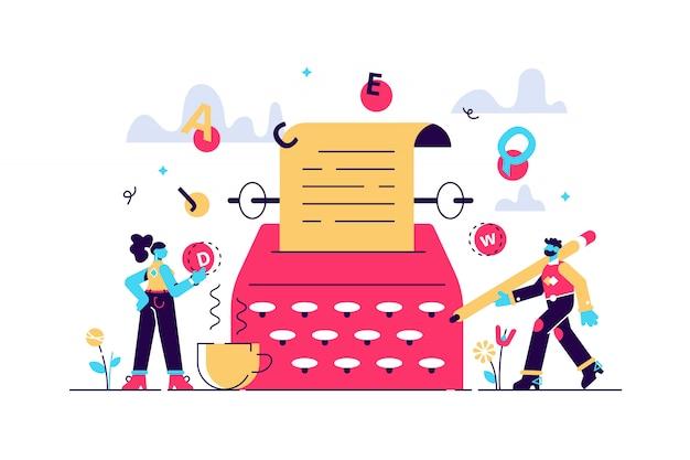 Illustration de l'histoire. concept de personnes auteur de texte plat minuscule. écriture de livre de fantaisie abstraite. développement de scènes narratives avec machine à écrire. type de littérature avec imagination d'idée créative.