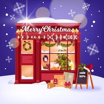 Illustration d'hiver de vitrine de magasin de noël avec tableau noir, étal de noël rouge, guirlande, décorations