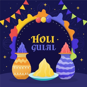 Illustration de holi gulal dessiné à la main