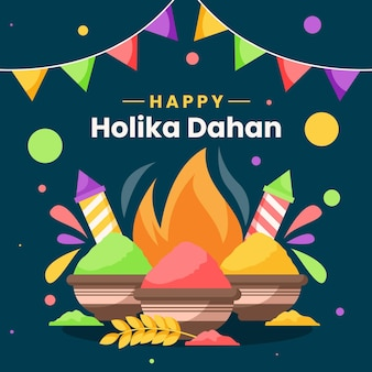 Illustration de holika dahan avec feu de camp et guirlandes