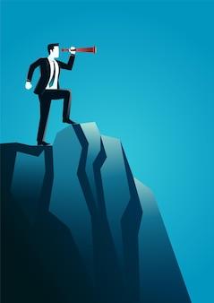 Illustration d & # 39; homme d & # 39; affaires au sommet du rocher à l & # 39; aide du télescope