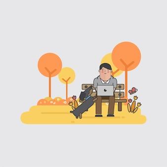 Illustration d'un homme d'affaires et d'un chien