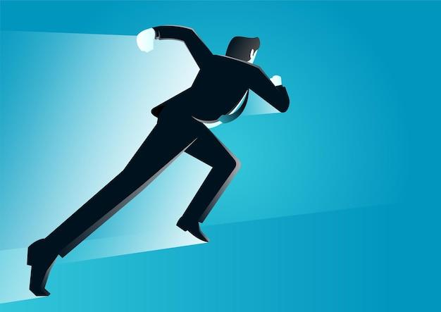 Illustration d & # 39; un homme d & # 39; affaires exécutant une illustration de concept d & # 39; entreprise rapide