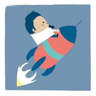 Illustration de l'homme d'affaires sur une fusée spatiale