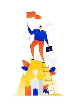Illustration d'un homme d'affaires gagnant atteignant ses objectifs. . métaphore. victoire en affaires.