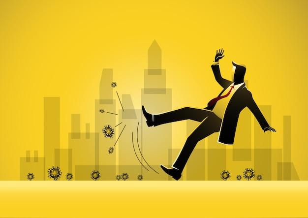 Une illustration d'un homme d'affaires glissant sur le virus corona et tombant