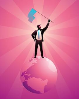 Illustration d & # 39; homme d & # 39; affaires heureux debout sur la terre tout en tenant un drapeau