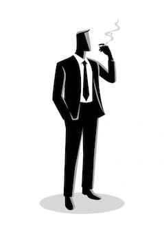 Illustration d'un homme d'affaires qui fume