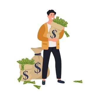 Illustration homme d'affaires riche en stabilité financière sur fond blanc