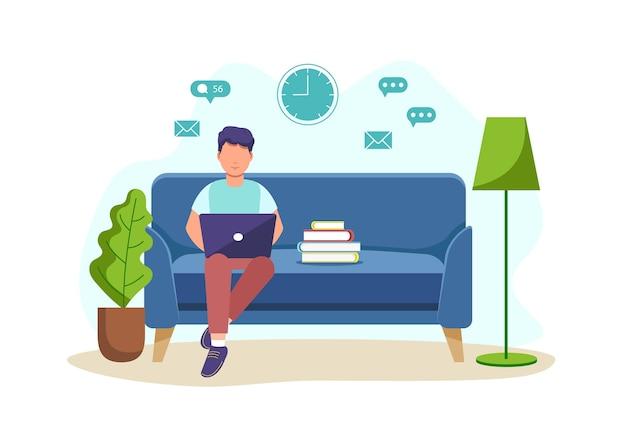 Une illustration d'un homme assis sur un canapé avec un ordinateur portable et travaillant à domicile.étudiant ou pigiste