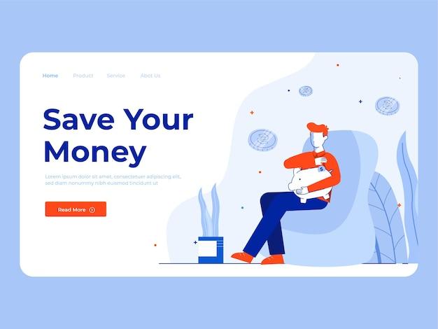 Illustration d'un homme économiser de l'argent pour faire du shopping
