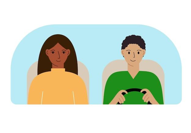 Illustration d'un homme et d'une femme dans une voiture derrière le pare-brise.