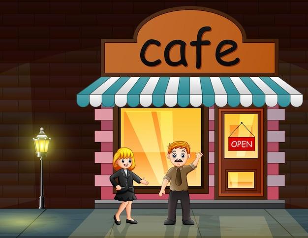 Illustration d'un homme et d'une femme debout devant le café