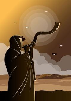 Une illustration d'un homme juif soufflant dans la corne de bélier du shofar le jour de la célébration de roch hachana et de yom kippour