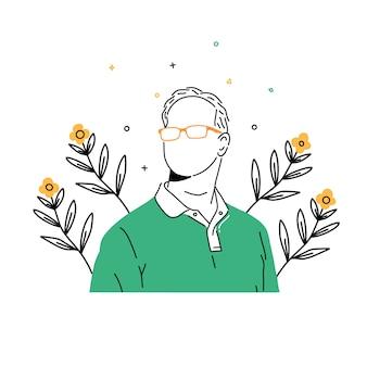 Illustration de l'homme à lunettes