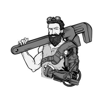 Illustration de l'homme mécanicien steampunk
