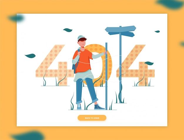 L'illustration d'un homme perd la direction d'une page d'erreur 404