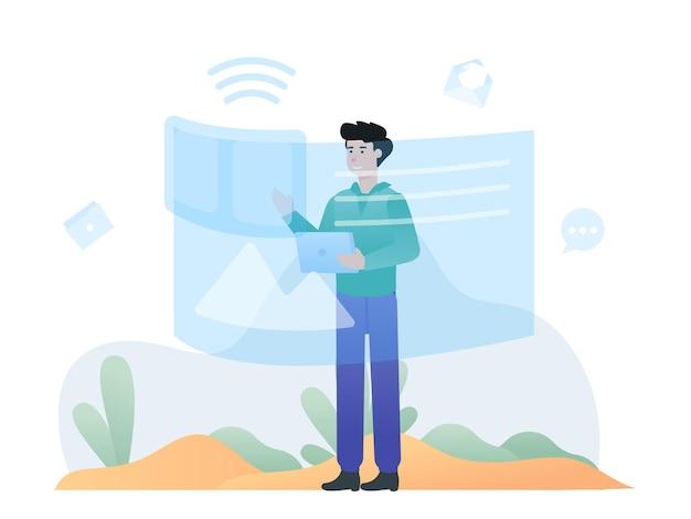 Illustration d'un homme vérifiant les données dans la nouvelle technologie de tableau de bord