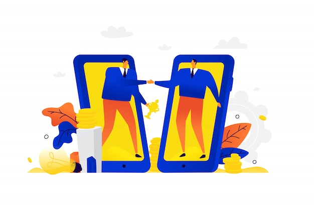 Illustration des hommes d'affaires en bonne santé. un homme et son partenaire se saluent sur le fond des appareils mobiles.