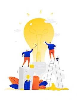 Illustration d'hommes d'affaires créant de nouvelles idées. . métaphore. deux personnes produisent un nouveau produit.