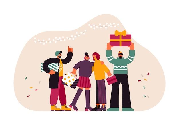 Illustration d'hommes et de femmes modernes dans des vêtements décontractés échangeant des cadeaux et des câlins tout en célébrant noël à la maison ensemble